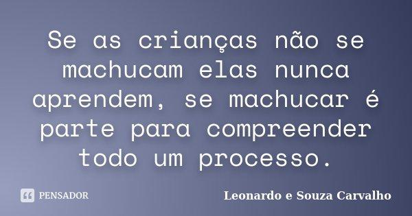 Se as crianças não se machucam elas nunca aprendem, se machucar é parte para compreender todo um processo.... Frase de Leonardo e Souza Carvalho.