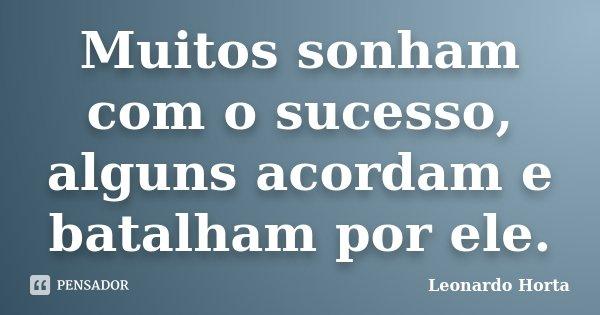 Muitos sonham com o sucesso, alguns acordam e batalham por ele.... Frase de Leonardo Horta.