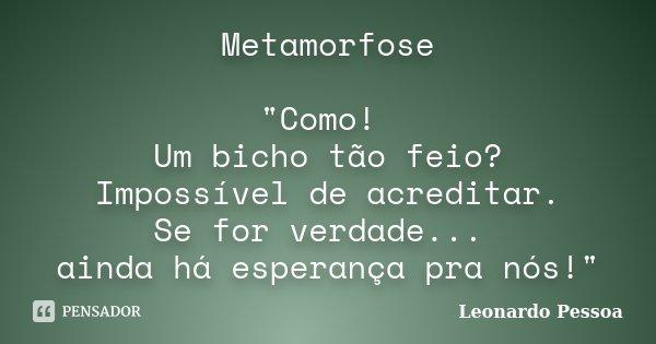 """Metamorfose """"Como! Um bicho tão feio? Impossível de acreditar. Se for verdade... ainda há esperança pra nós!""""... Frase de Leonardo Pessoa."""