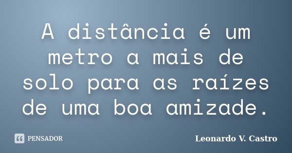 A distância é um metro a mais de solo para as raízes de uma boa amizade.... Frase de Leonardo V. Castro.