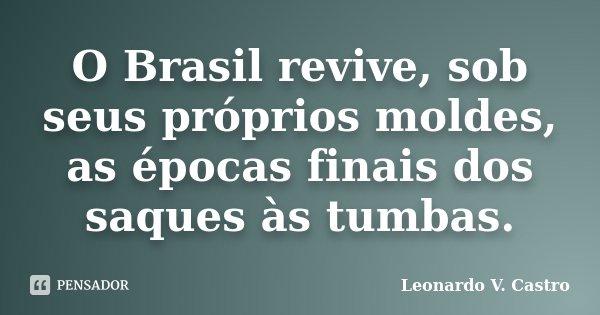 O Brasil revive, sob seus próprios moldes, as épocas finais dos saques às tumbas.... Frase de Leonardo V. Castro.