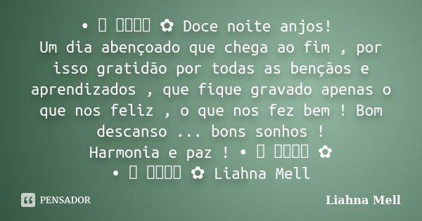 • ♡ ೋ ✿ Doce noite anjos! Um dia abençoado que chega ao fim , por isso gratidão por todas as bençãos e aprendizados , que fique gravado apenas o que nos feliz ,... Frase de Liahna Mell.