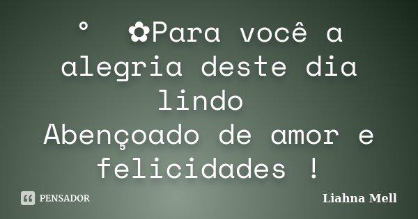 ° ೋ✿Para você a alegria deste dia lindo Abençoado de amor e felicidades !... Frase de Liahna Mell.