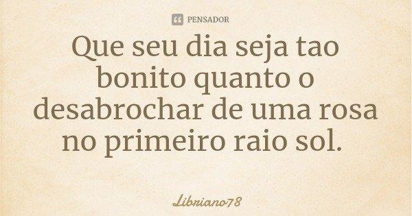 Que seu dia seja tao bonito quanto o desabrochar de uma rosa no primeiro raio sol.... Frase de Libriano78.