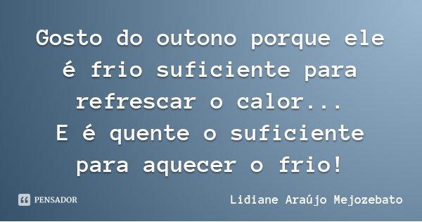 Gosto do outono porque ele é frio suficiente para refrescar o calor... E é quente o suficiente para aquecer o frio!... Frase de Lidiane Araújo Mejozebato.