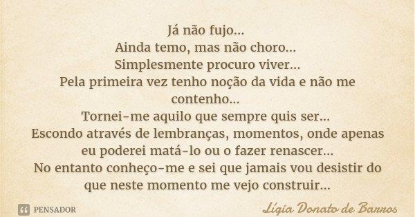 Já não fujo... Ainda temo, mas não choro... Simplesmente procuro viver... Pela primeira vez tenho noção da vida e não me contenho... Tornei-me aquilo que sempre... Frase de Lígia Donato de Barros.