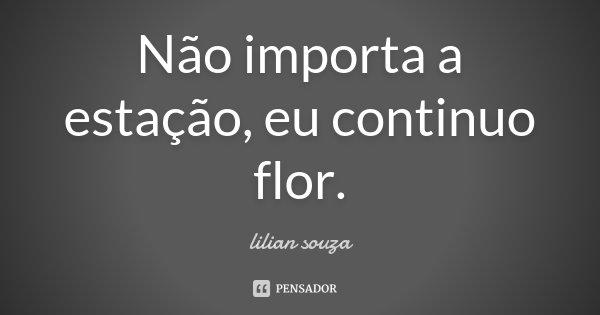 Não importa a estação, eu continuo flor.... Frase de Lilian Souza.