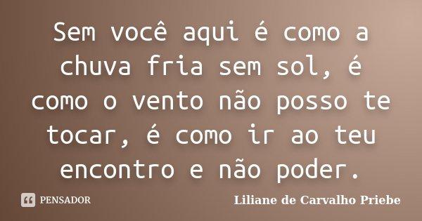 Sem você aqui é como a chuva fria sem sol, é como o vento não posso te tocar, é como ir ao teu encontro e não poder.... Frase de Liliane de Carvalho Priebe.