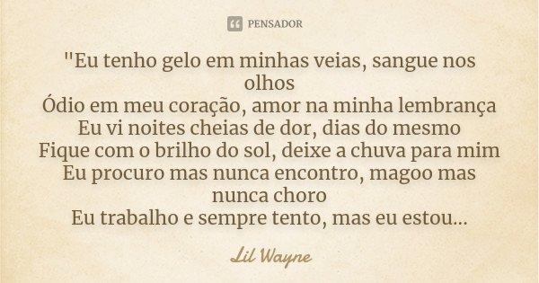 """""""Eu tenho gelo em minhas veias, sangue nos olhos Ódio em meu coração, amor na minha lembrança Eu vi noites cheias de dor, dias do mesmo Fique com o brilho ... Frase de Lil Wayne."""