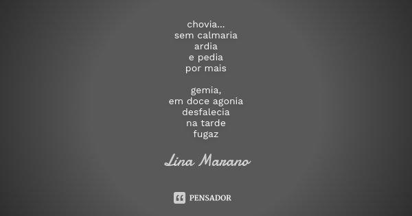 chovia... sem calmaria ardia e pedia por mais gemia, em doce agonia desfalecia na tarde fugaz... Frase de Lina Marano.