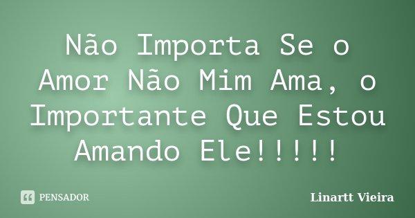Não Importa Se o Amor Não Mim Ama, o Importante Que Estou Amando Ele!!!!!... Frase de Linartt Vieira.