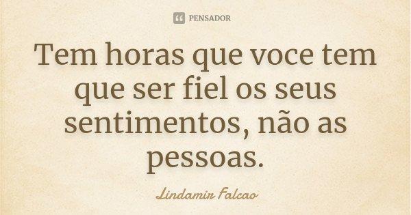 Tem horas que voce tem que ser fiel os seus sentimentos, não as pessoas.... Frase de Lindamir Falcao.
