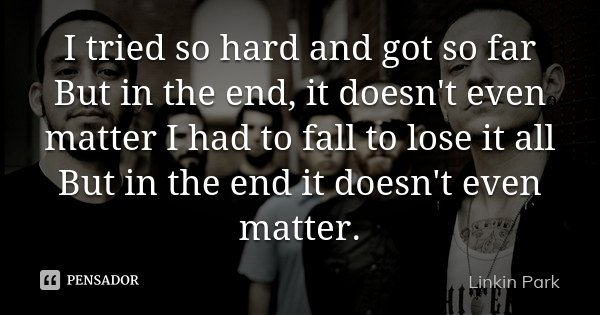 I tried so hard and got so far But in the end, it doesn't even matter I had to fall to lose it all But in the end it doesn't even matter.... Frase de Linkin Park.