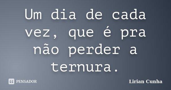 Um dia de cada vez, que é pra não perder a ternura.... Frase de Lirian Cunha.