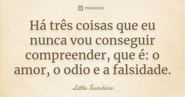 Há três coisas que eu nunca vou conseguir compreender, que é: o amor, o odio e a falsidade.... Frase de Little Sunshine.