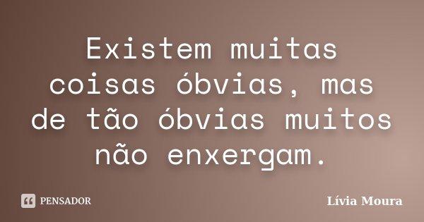 Existem muitas coisas óbvias mas de tão óbvias muitos não enxergam.... Frase de Lívia Moura.