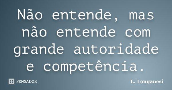 Não entende, mas não entende com grande autoridade e competência.... Frase de L. Longanesi.