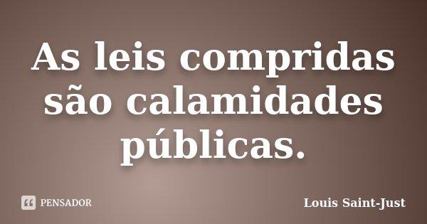 As leis compridas são calamidades públicas.... Frase de Louis Saint-Just.
