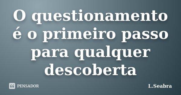 O questionamento é o primeiro passo para qualquer descoberta... Frase de L.Seabra.