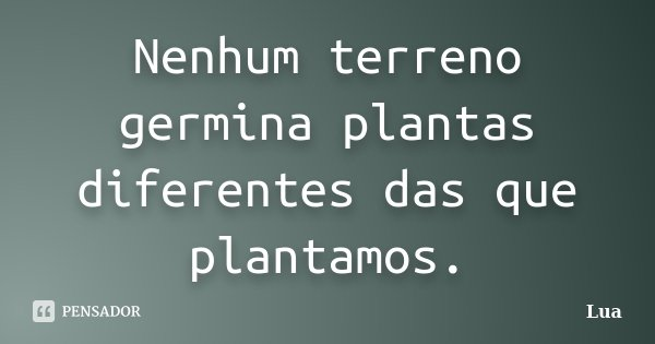 Nenhum terreno germina plantas diferentes das que plantamos.... Frase de Lua.