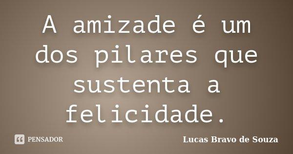 A amizade é um dos pilares que sustenta a felicidade.... Frase de Lucas Bravo de Souza.