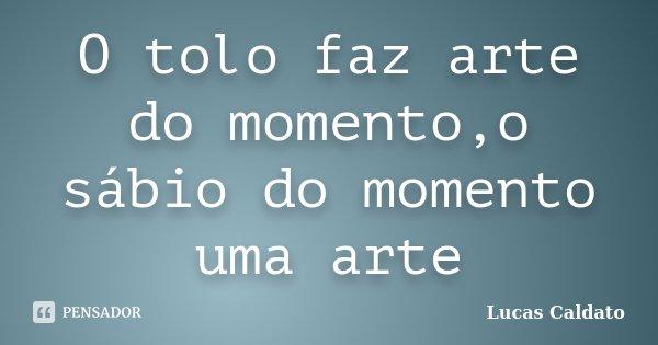 O tolo faz arte do momento,o sábio do momento uma arte... Frase de Lucas Caldato.