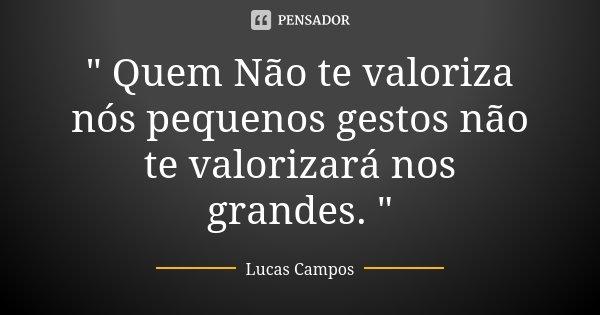 """"""" Quem Não te valoriza nós pequenos gestos não te valorizará nos grandes. """"... Frase de Lucas Campos."""