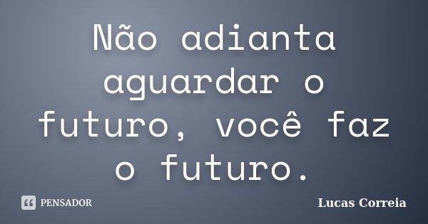 Não adianta aguardar o futuro, você faz o futuro.... Frase de Lucas Correia.