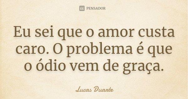 Eu sei que o amor custa caro. O problema é que o ódio vem de graça.... Frase de Lucas Duarte.