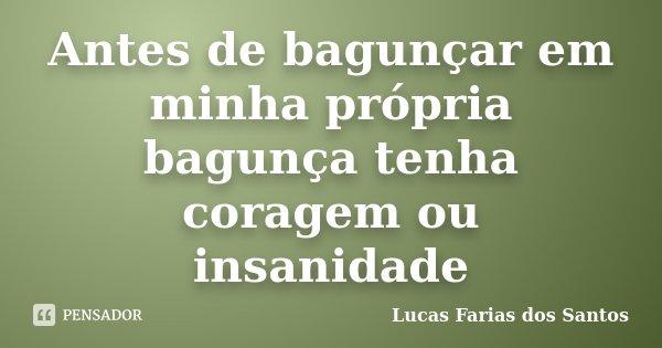 Antes de bagunçar em minha própria bagunça tenha coragem ou insanidade... Frase de Lucas Farias dos Santos.