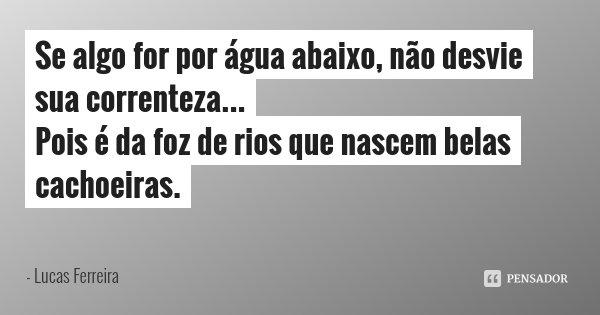 Se algo for por água abaixo, não desvie sua correnteza... Pois é da foz de rios que nascem belas cachoeiras.... Frase de Lucas Ferreira.