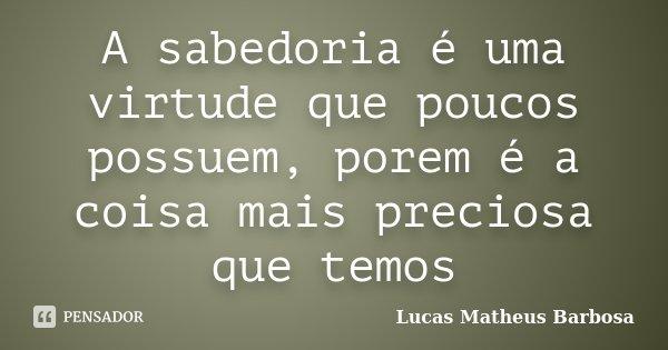 A sabedoria é uma virtude que poucos possuem, porem é a coisa mais preciosa que temos... Frase de Lucas Matheus Barbosa.