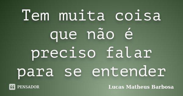 Tem muita coisa que não é preciso falar para se entender... Frase de Lucas Matheus Barbosa.