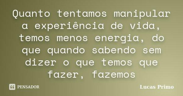 Quanto tentamos manipular a experiência de vida, temos menos energia, do que quando sabendo sem dizer o que temos que fazer, fazemos... Frase de Lucas Primo.