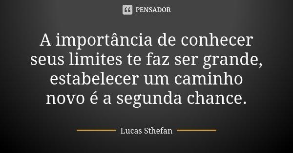 A importância de conhecer seus limites te faz ser grande, estabelecer um caminho novo é a segunda chance.... Frase de Lucas Sthefan.
