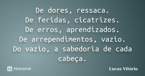 De dores, ressaca. De feridas, cicatrizes. De erros, aprendizados. De arrependimentos, vazio. Do vazio, a sabedoria de cada cabeça.... Frase de Lucas Vitório.