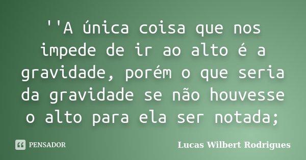 ''A única coisa que nos impede de ir ao alto é a gravidade, porém o que seria da gravidade se não houvesse o alto para ela ser notada;... Frase de Lucas Wilbert Rodrigues.