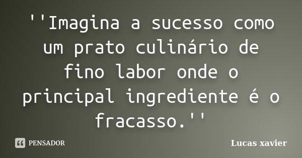 ''Imagina a sucesso como um prato culinário de fino labor onde o principal ingrediente é o fracasso.''... Frase de Lucas Xavier.