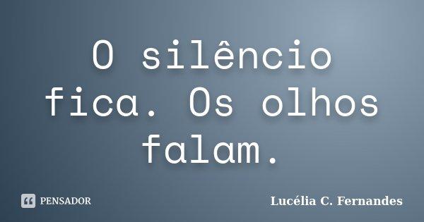 O silêncio fica. Os olhos falam.... Frase de Lucélia C. Fernandes.