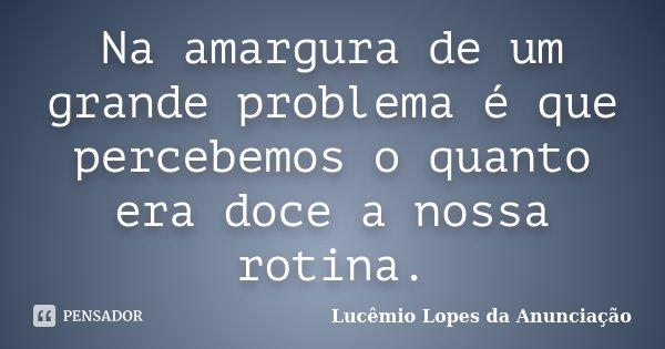 Na amargura de um grande problema é que percebemos o quanto era doce a nossa rotina.... Frase de Lucêmio Lopes da Anunciação.