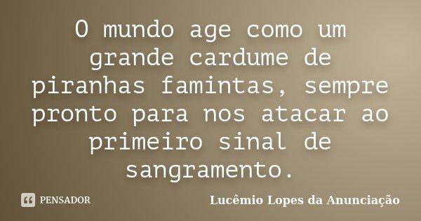 O mundo age como um grande cardume de piranhas famintas, sempre pronto para nos atacar ao primeiro sinal de sangramento.... Frase de Lucêmio Lopes da Anunciação.