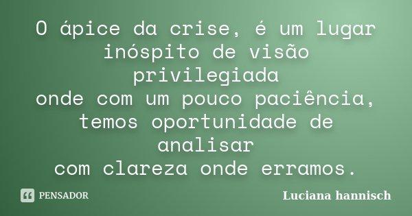 O ápice da crise, é um lugar inóspito de visão privilegiada onde com um pouco paciência, temos oportunidade de analisar com clareza onde erramos.... Frase de Luciana Hannisch.
