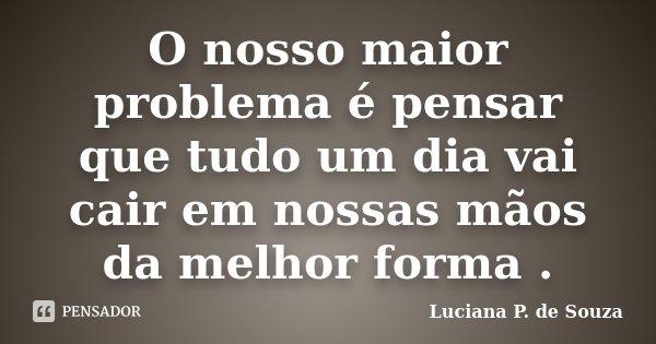 O nosso maior problema é pensar que tudo um dia vai cair em nossas mãos da melhor forma .... Frase de Luciana P. de Souza.