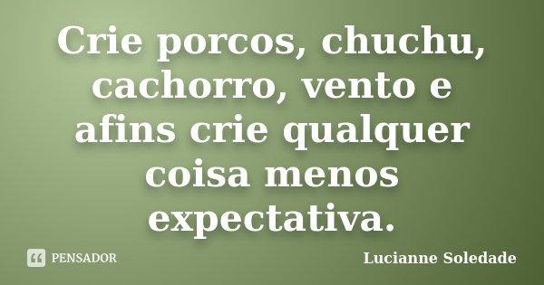 Crie porcos, chuchu, cachorro, vento e afins crie qualquer coisa menos expectativa.... Frase de Lucianne Soledade.