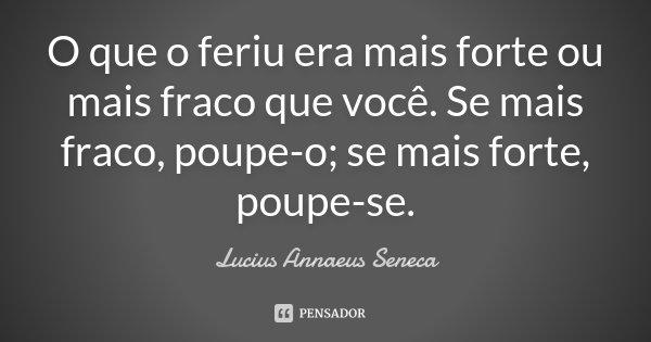 O que o feriu era mais forte ou mais fraco que você. Se mais fraco, poupe-o; se mais forte, poupe-se.... Frase de Lucius Annaeus Seneca.