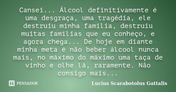 Cansei... Álcool definitivamente é uma desgraça, uma tragédia, ele destruiu minha familia, destruiu muitas famílias que eu conheço, e agora chega... De hoje em ... Frase de Lucius Scarabotolus Gattalis.