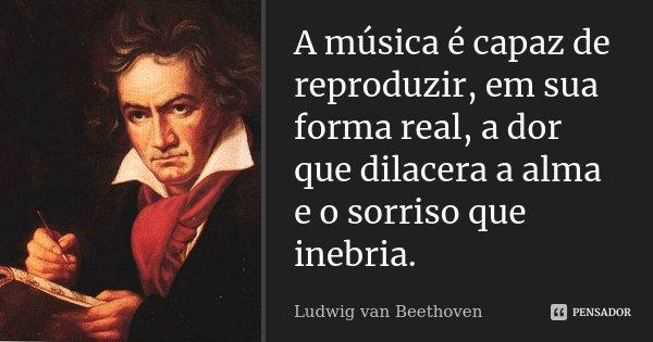 A música é capaz de reproduzir, em sua forma real, a dor que dilacera a alma e o sorriso que inebria.... Frase de Ludwig van Beethoven.