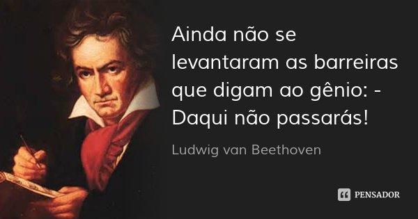 Ainda não se levantaram as barreiras que digam ao gênio: - Daqui não passarás!... Frase de Ludwig van Beethoven.