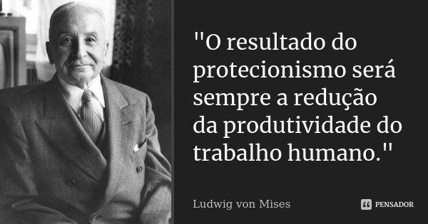"""""""O resultado do protecionismo será sempre a redução da produtividade do trabalho humano.""""... Frase de Ludwig von Mises."""