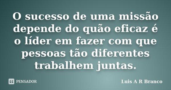 O sucesso de uma missão depende do quão eficaz é o líder em fazer com que pessoas tão diferentes trabalhem juntas.... Frase de Luis A R Branco.